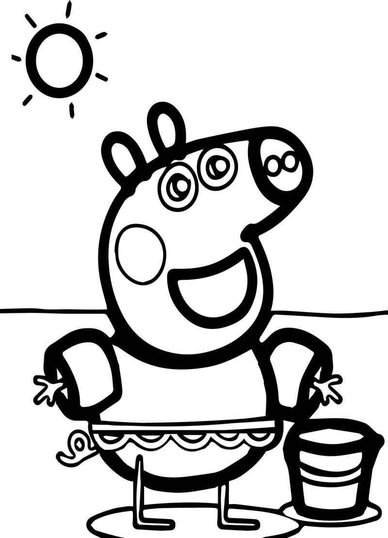 Peppa Pig Sun Beach Coloring Page