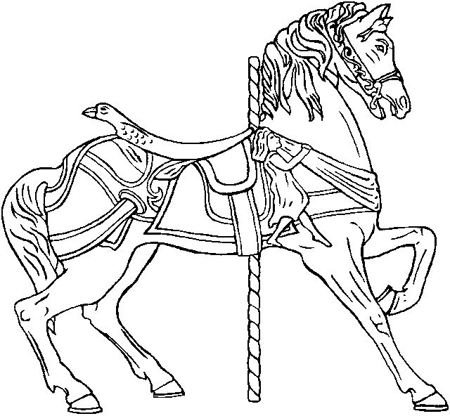 Perfect Merry Go Round Horse Coloring Page