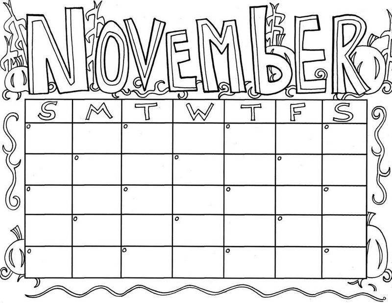 Perfect November Calendar Coloring Pages