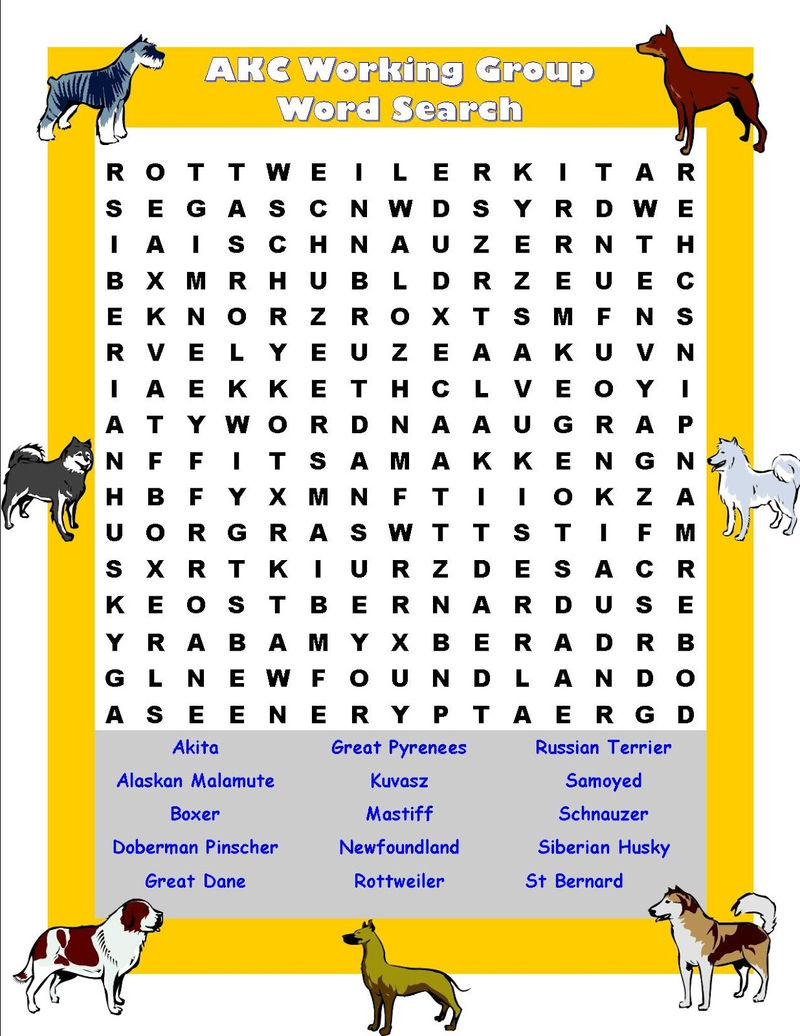 Pet Word Search Dog