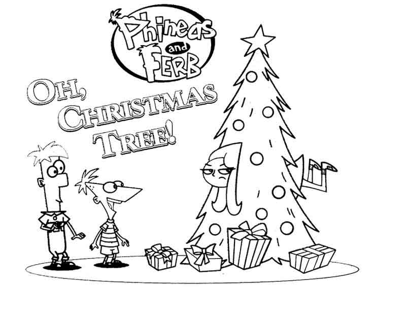 Phineas And Ferb Christmas Coloring Pages