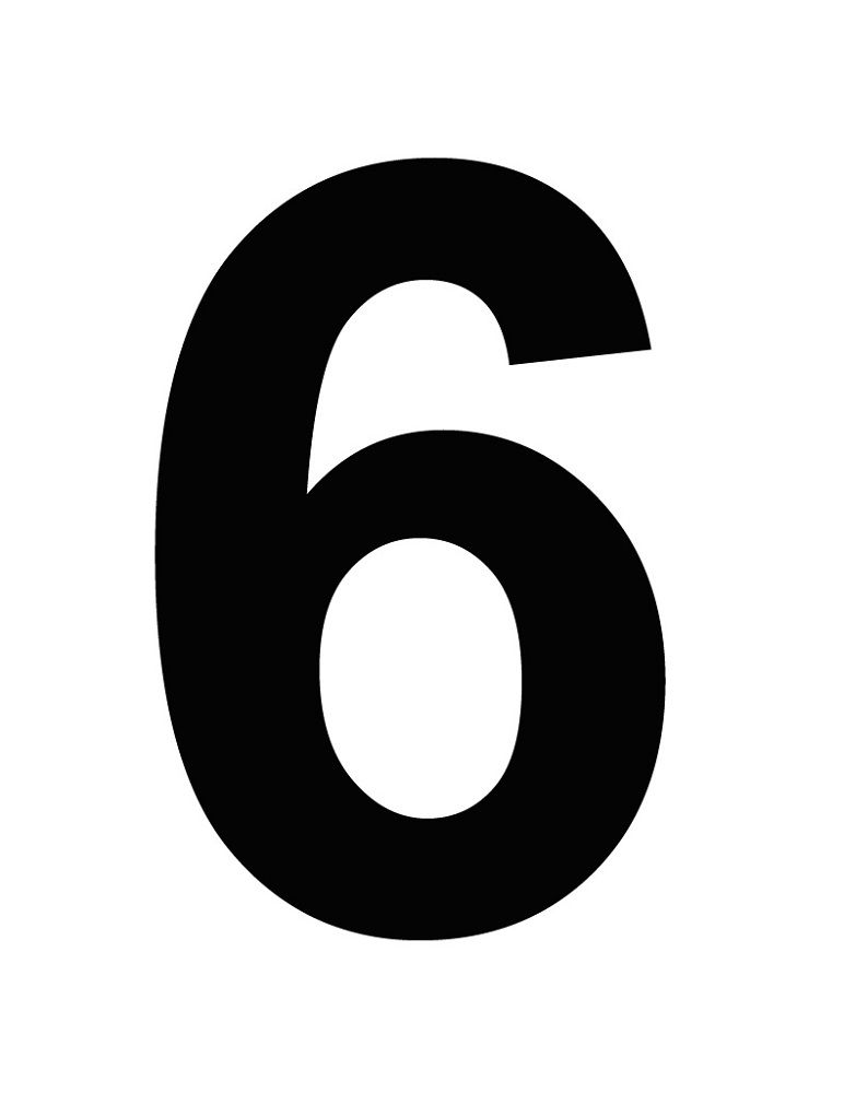 Picture Of The Number 6 Black Color