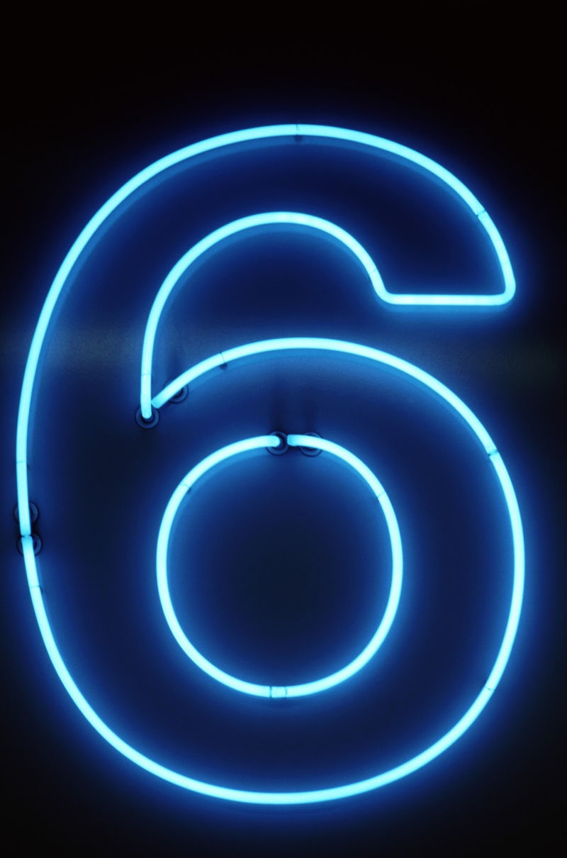 Picture Of The Number 6 Neon