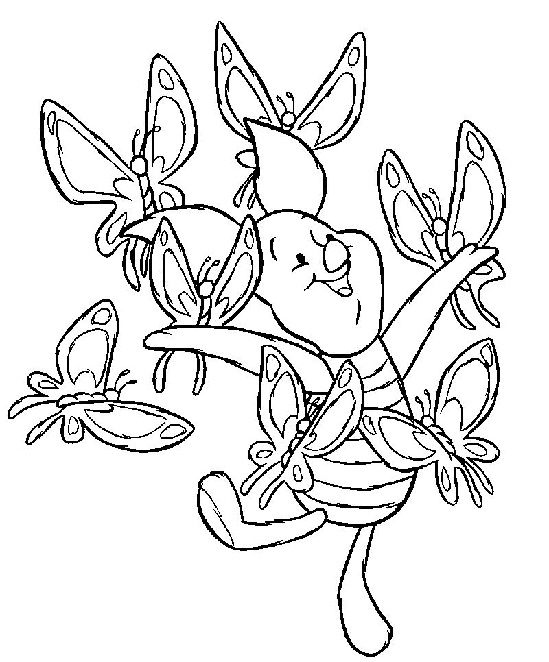Piglet And The Butterflies Winnie The Pooh Coloring Pages