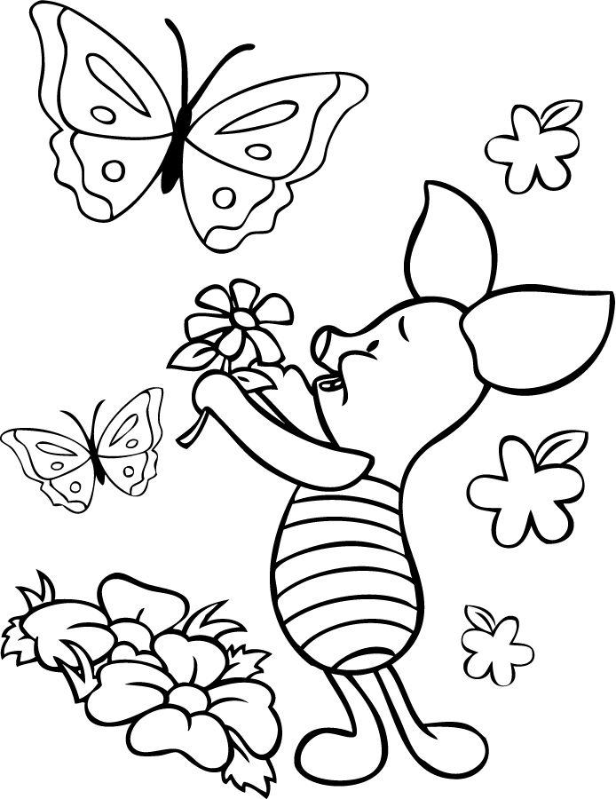 Piglet Loves Flowers Coloring Page