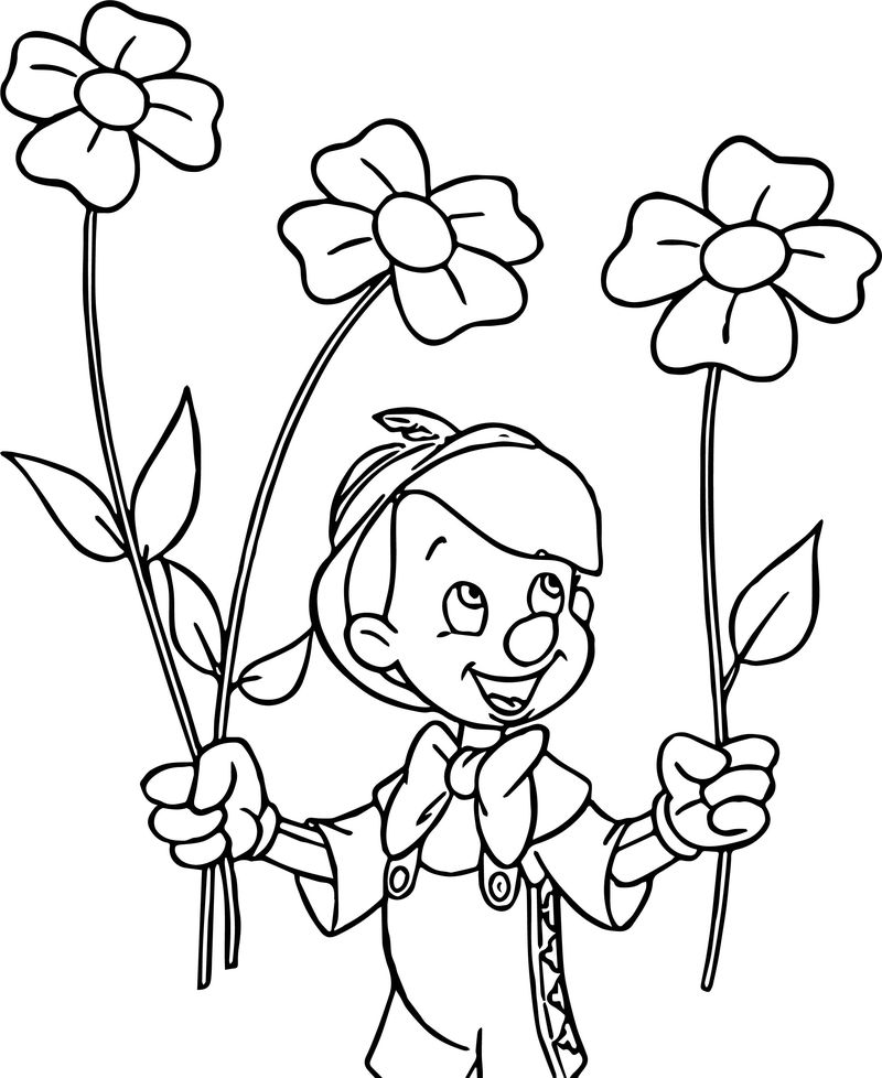 Pinocchio Flowers Coloring Pages