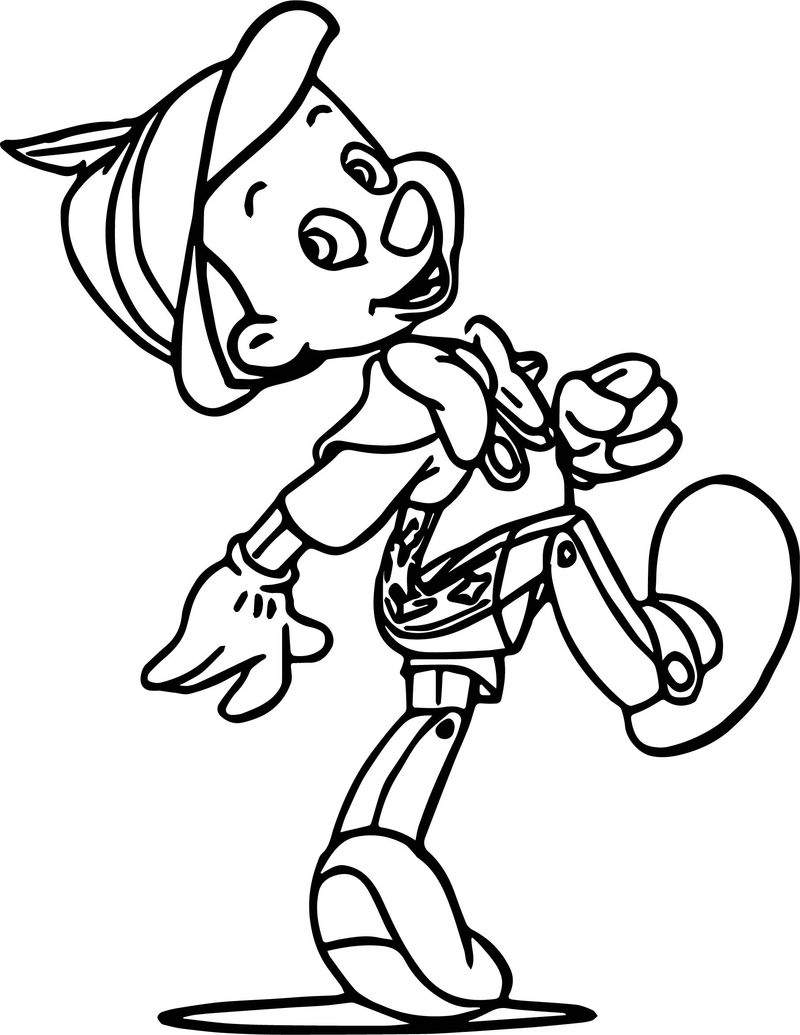 Pinocchio happy coloring pages