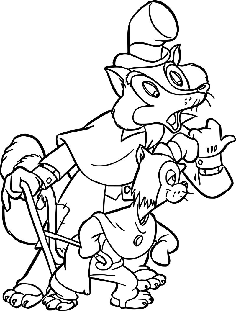 Pinocchio Wolf Cat Gideon Foul Fellow Coloring Page
