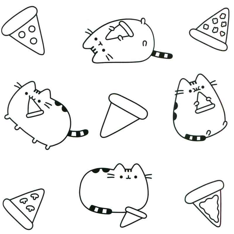 Pizza Cat Pusheen Coloring Pages