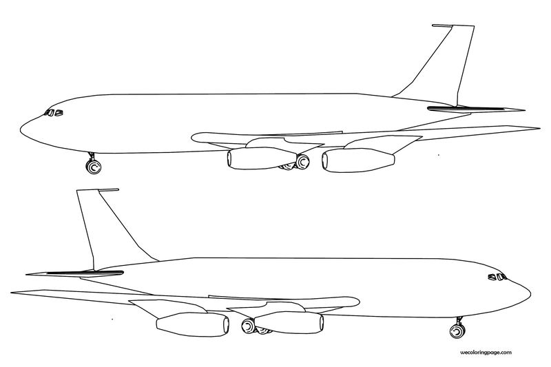 Plane Side Left Right Coloring Page