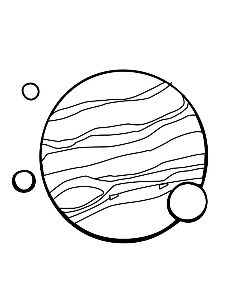 Planet With Moons Coloring Page