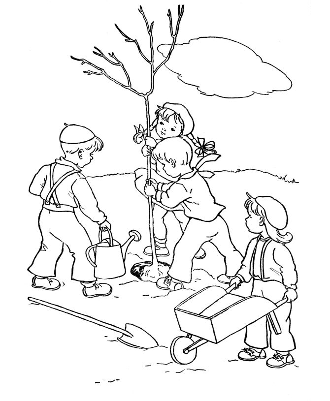 Plant A Tree For Arbor Day Coloring Page