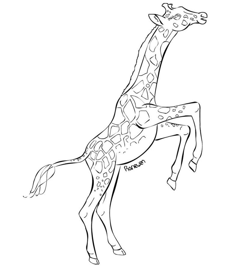 Playful Giraffe Animal Coloring Pages