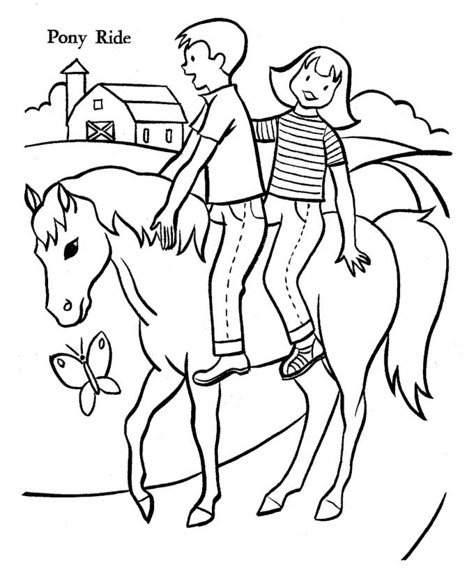 Pony With Kids Animal Coloring Pages