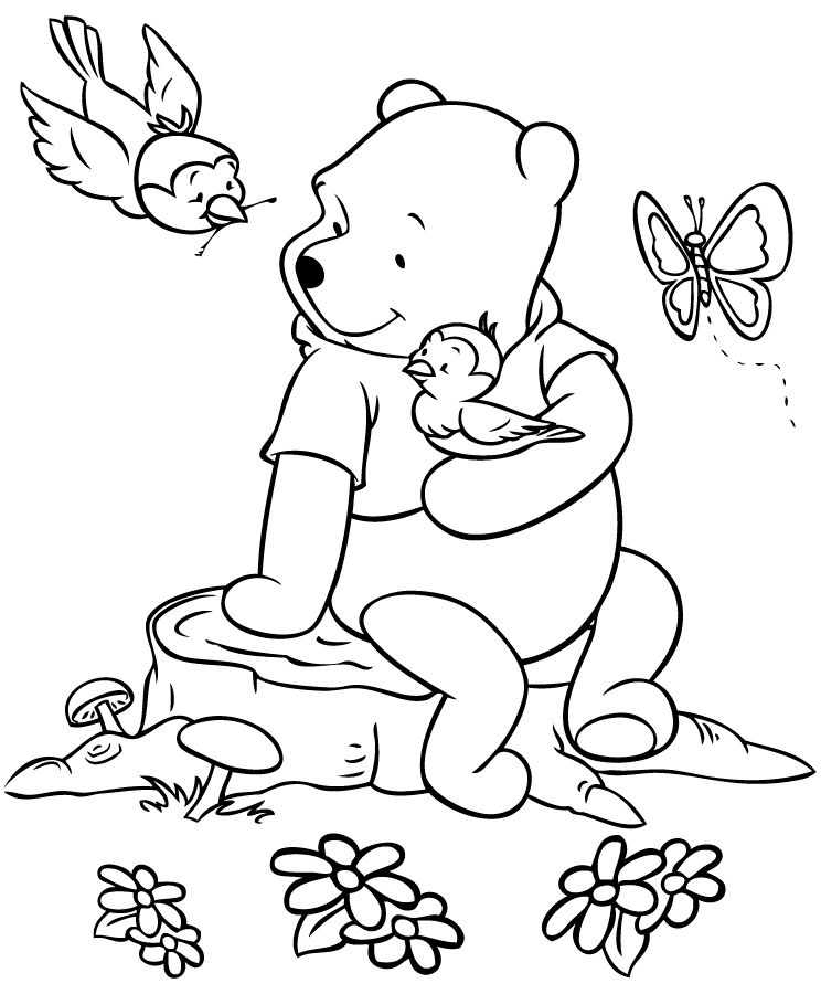 Pooh And The Birds Coloring Page