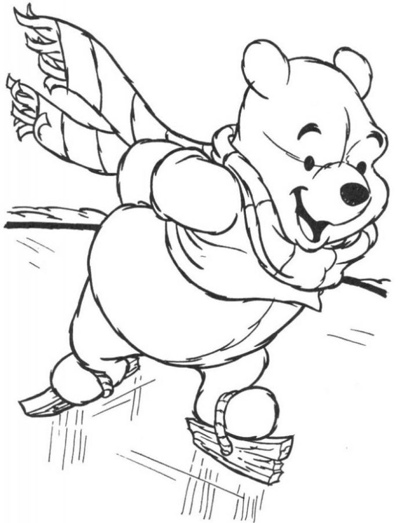 Pooh Bear Ice Skating In Winter Coloring Page