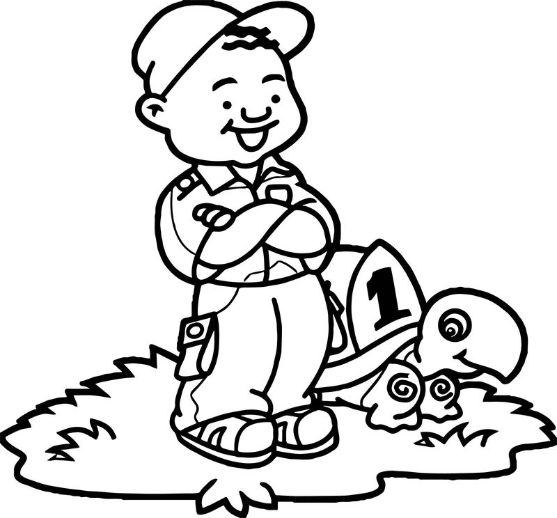Post Boy And Turtle Coloring Page