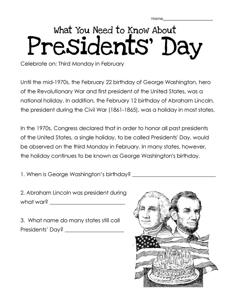 Presidents Day Worksheets 1