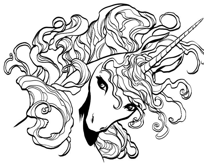 Pretty Unicorn Head Drawing For Coloring Page