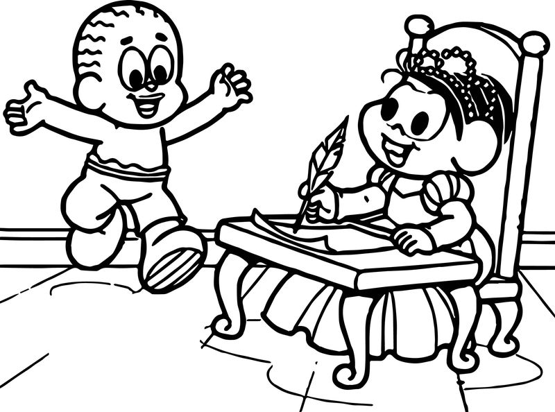 Princess Monica And Boy Playing Coloring Page