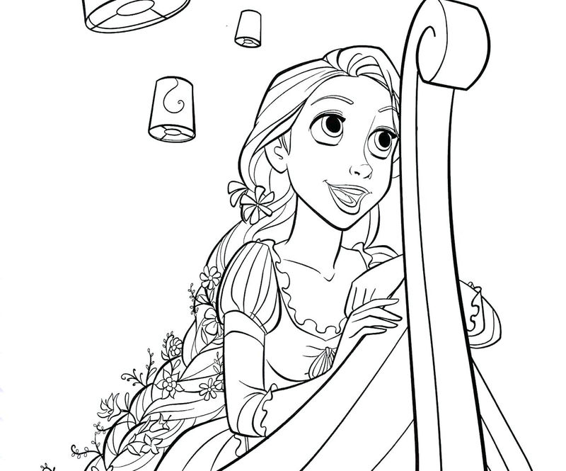 Princess rapunzel at the lanterns coloring page