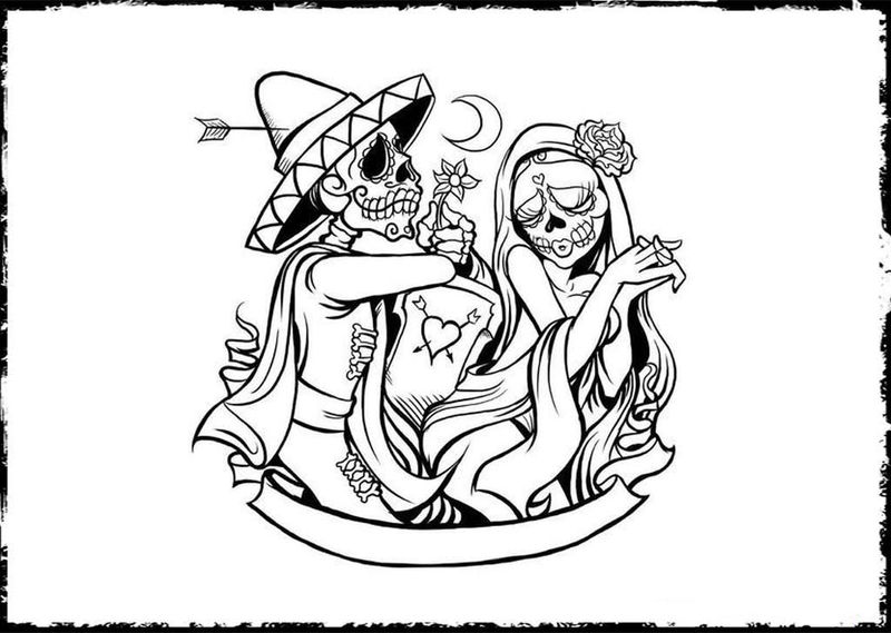 Print Day Of The Dead Coloring Pages 001
