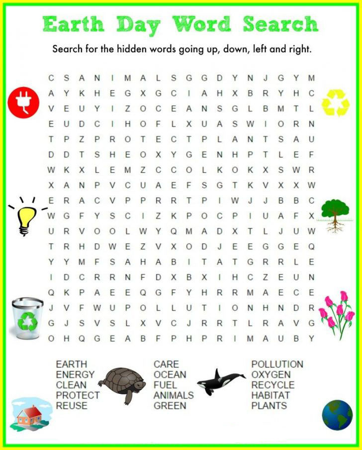 Print Earth Day Word Search