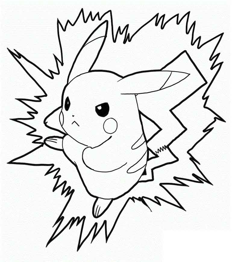Printable Pikachu Color Pages For Kids