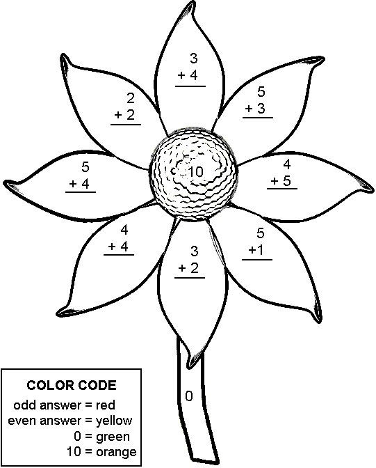Printable Addition Color By Number Sheets