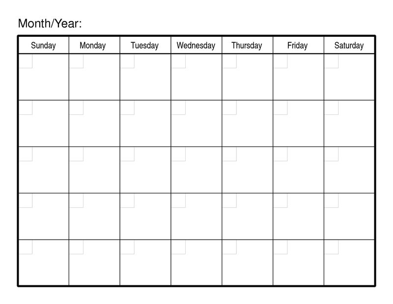 Printable Blank Monthly Calendar Monday