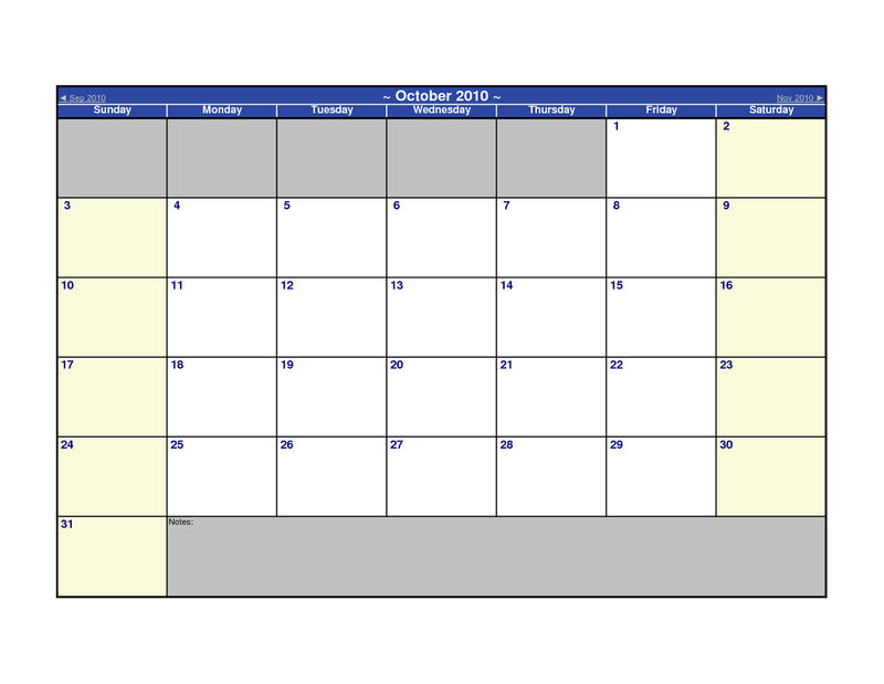 Printable Blank Monthly Calendar Notes