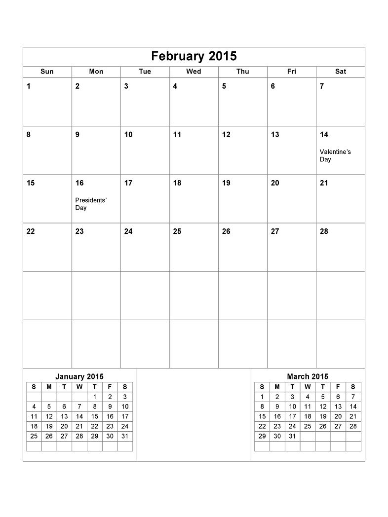 Printable Calendar Pages 2015 February1