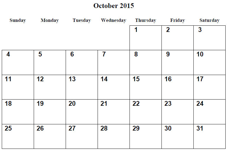 Printable Calendar Pages 2015 October 001
