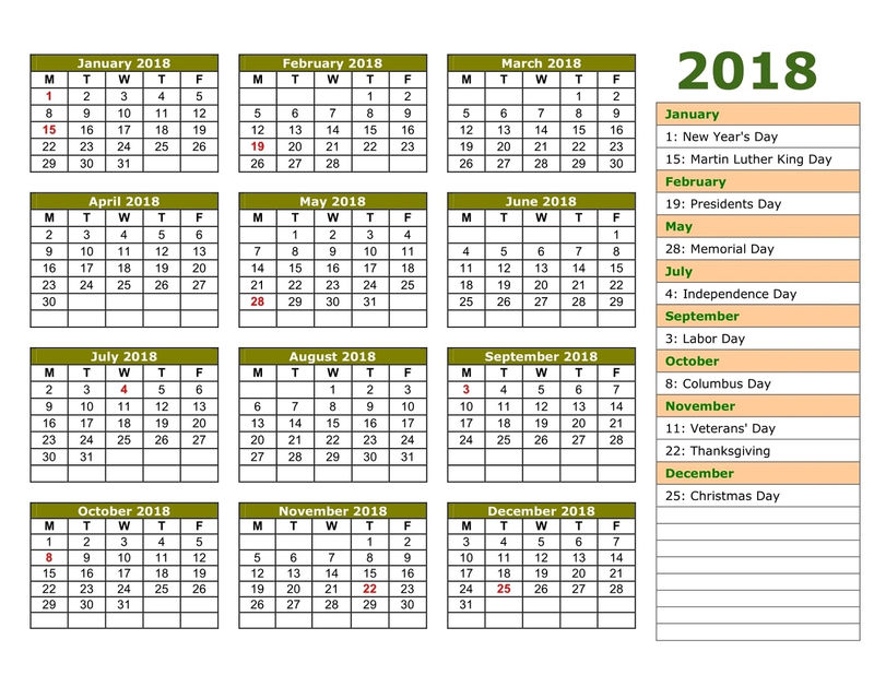 Printable Calendar Pages 2018 One Page