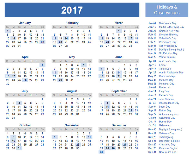 Printable Calendars 2017 One Page With Holiday
