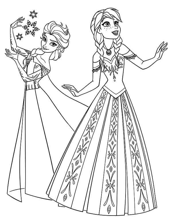 Printable Frozen Elsa And Anna Coloring Page