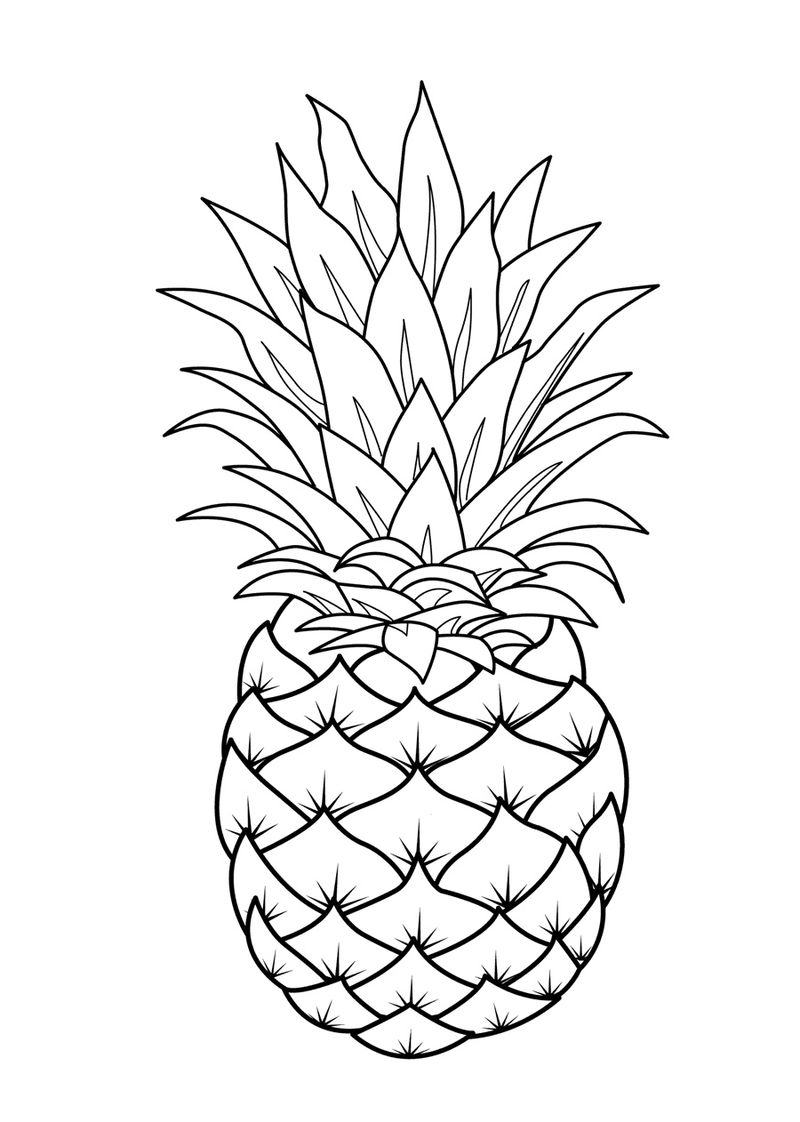 Printable Fruit Pineapple Coloring Page