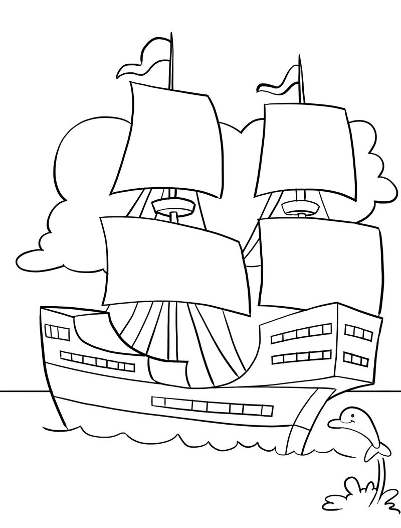 Printable Mayflower Coloring Pages