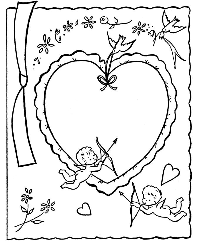 Printable Valentines Day Card To Color