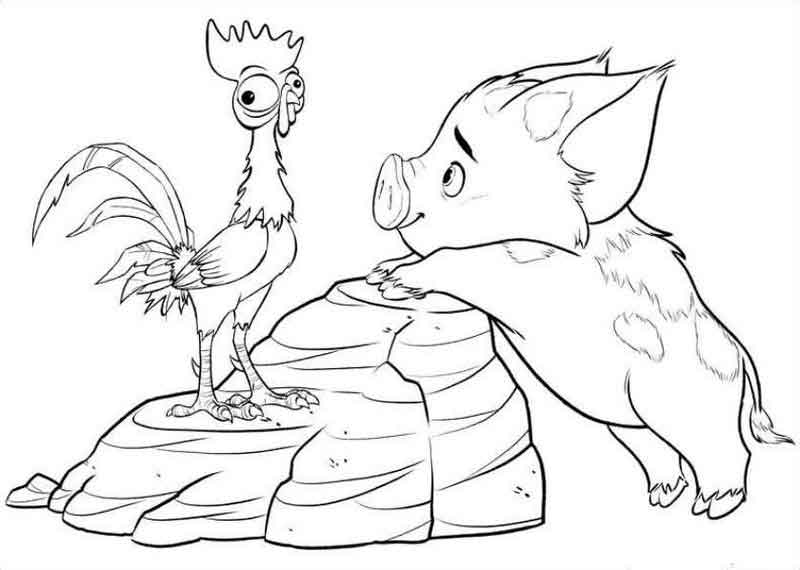 Pua And Hei Hei Moana Coloring Pages