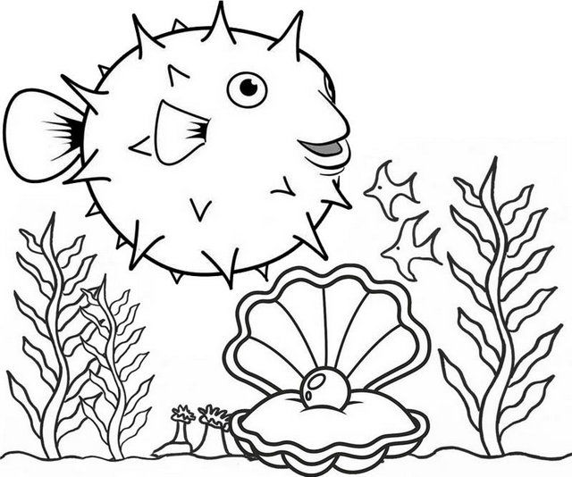 Puffer Fish And Beautiful Oyster Pearl Coloring Page