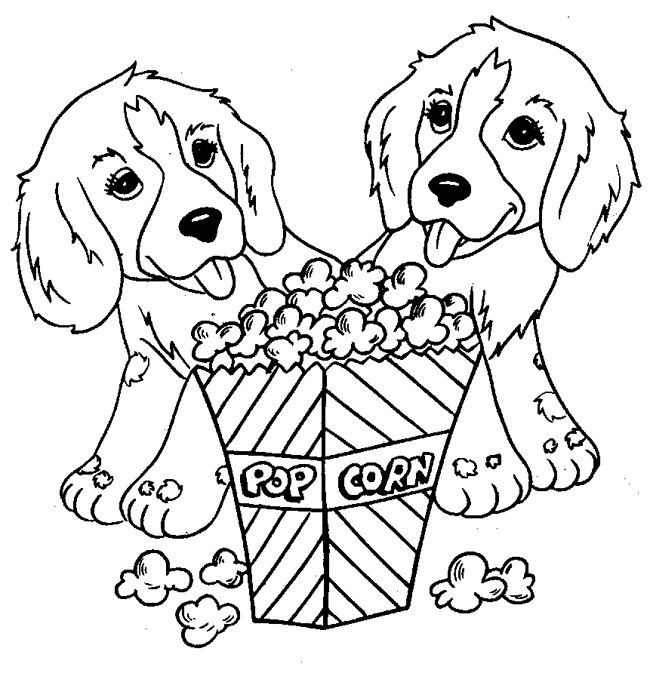 Puppies And Popcorn Animal Coloring Pages