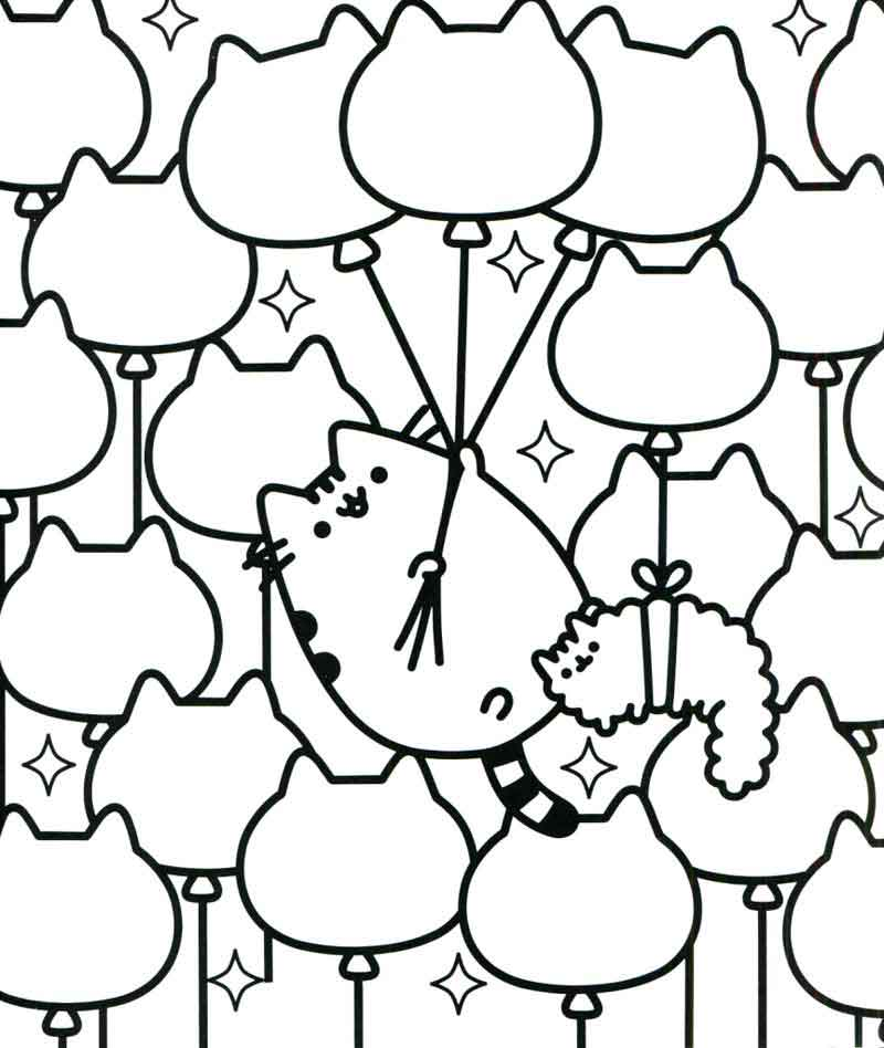 Pusheen Cat Coloring Pages Balloon Kitties