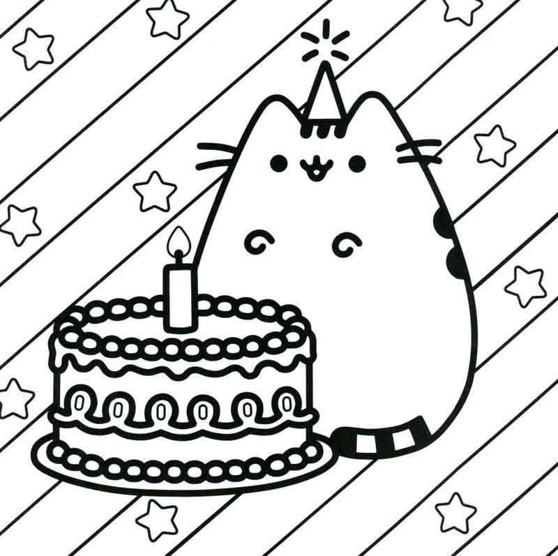 Pusheen Coloring Pages Birthday Cat