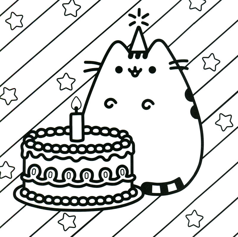 Pusheen Coloring Pages Birthday Cat 001