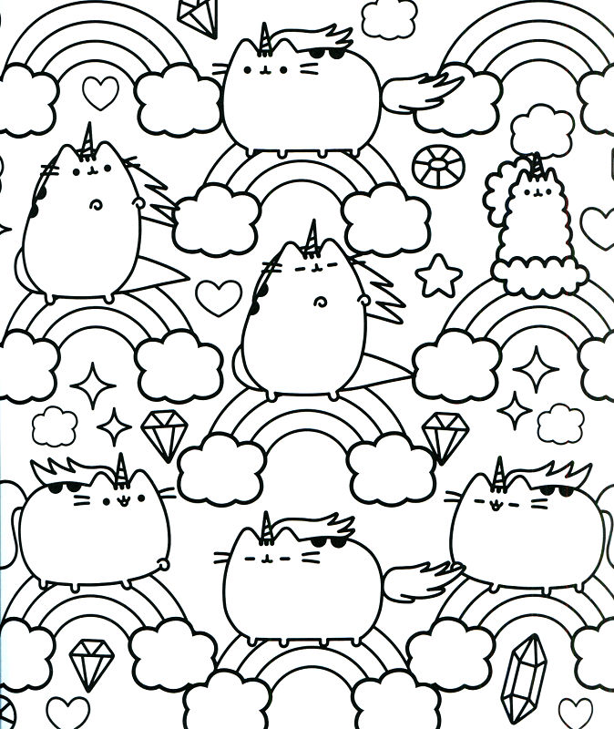 Pusheen Unicorn Rainbow Coloring Page Free Coloring Pages
