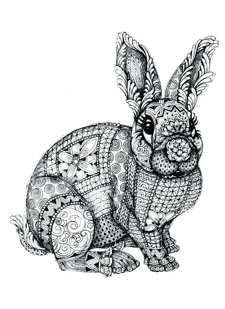 Rabbit Animal Mandala Coloring Pages