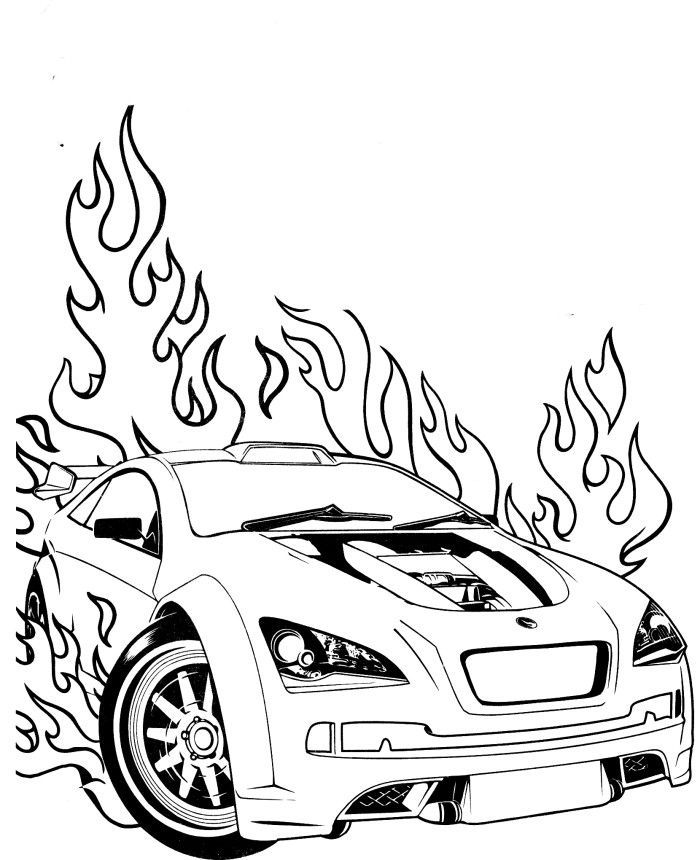 Race Car Flames Coloring Page