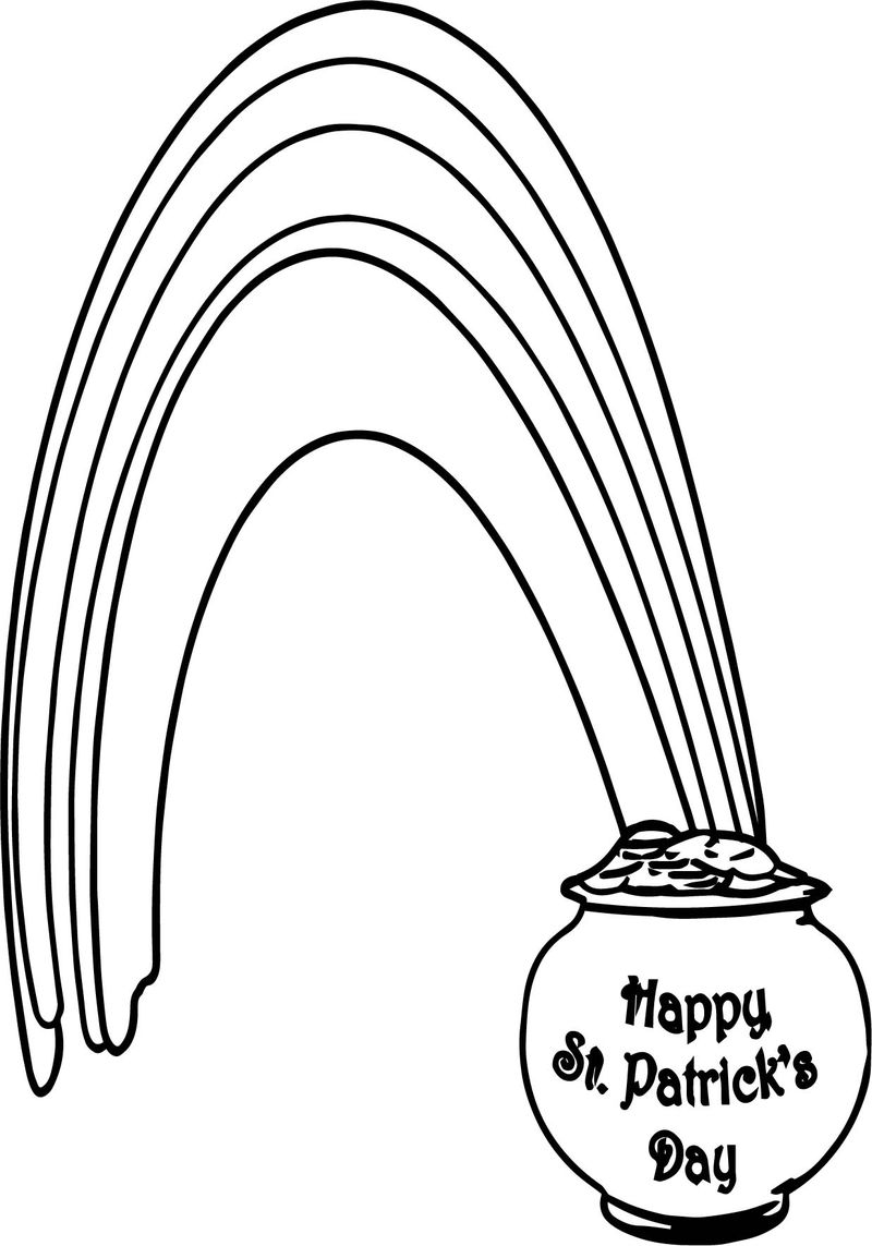 Rainbow Pot Of Gold All Saint Day Coloring Page