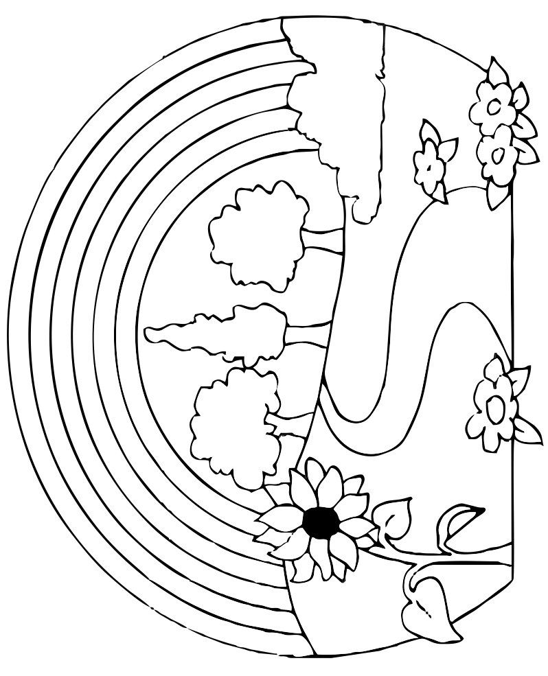 Rainbow With Trees And Flowers Coloring Page